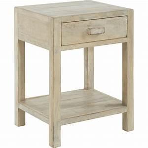 Chevet Bois Massif : chevet 1 tiroir en bois massif blanchi 45x38xh62cm mah ~ Teatrodelosmanantiales.com Idées de Décoration