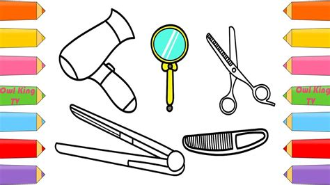 draw set beauty hair salon dryer comb scissors