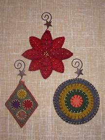 penny rug 3 christmas ornaments pattern set 1 for wool felt embroidery ebay