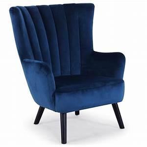 Fauteuil Bleu Scandinave : fauteuil scandinave velours bleu kamps ~ Teatrodelosmanantiales.com Idées de Décoration