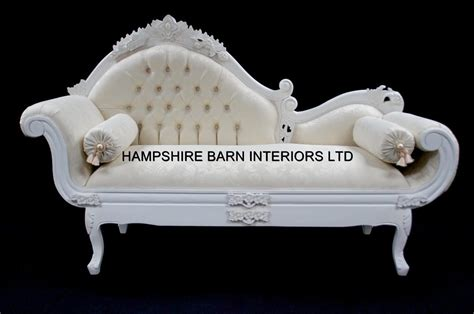 White Cream Chateau French Style Designer Ornate Chaise