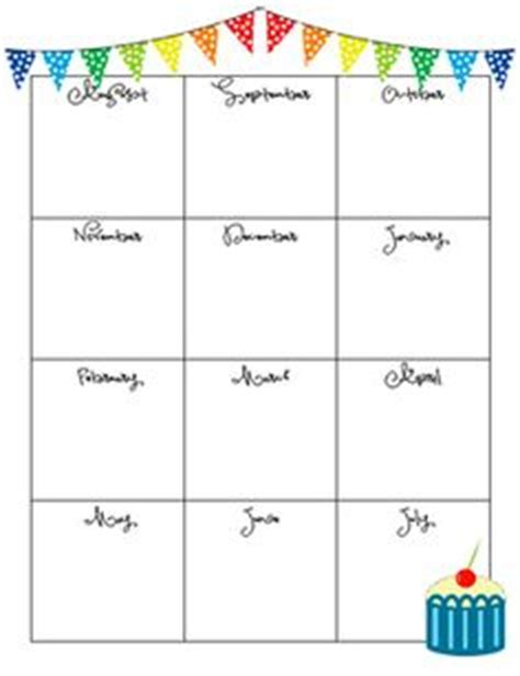Birthday Chart Template For Classroom by Printable Birthday Charts Freebie For The Teachers