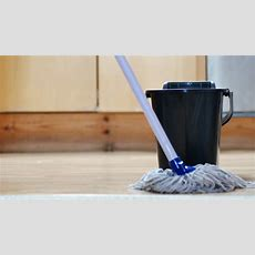 Low Angle Close Up Footage Of Someone Mopping The Kitchen