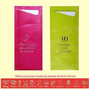 40 servietten und mit namen bedruckte bestecktaschen geburtstag hochzeit taufe ebay