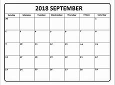 September 2018 Calendar A4 Printable Template October