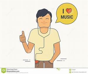Young Guy Demonstrates Thumbs Up He Likes Listen To Music ...