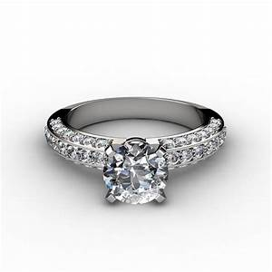 three sided pave diamonds engagement ring With three diamond wedding ring