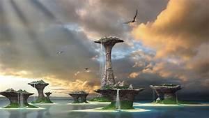 3d, Landscape, Fantasy, Waterfalls, Picture, Nr, 61016