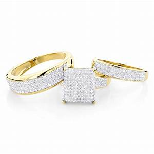 Affordable trio ring setsdiamond wedding ring set 125ct for Wedding rings trio sets