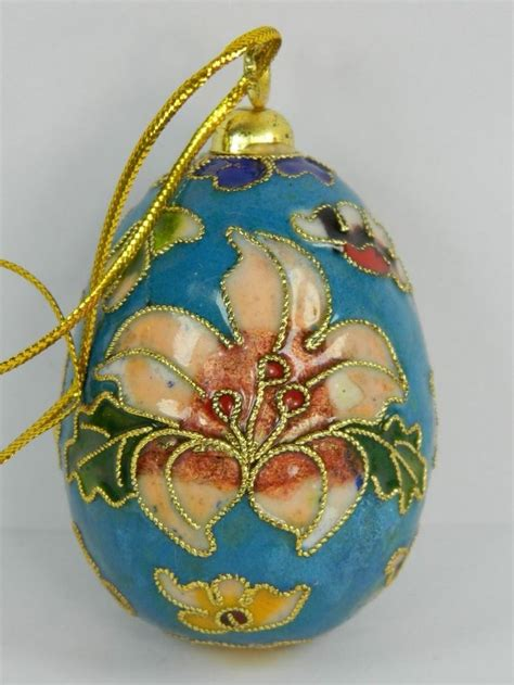 light blue cloisonne copper enameled egg home ornament