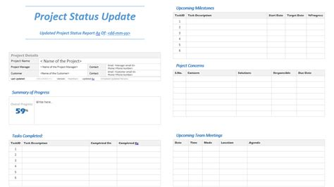project status update template analysistabs innovating