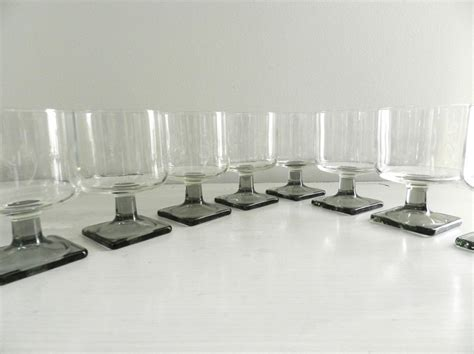 Vintage Cocktail Glasses Barware Danish Modern Smoke Grey