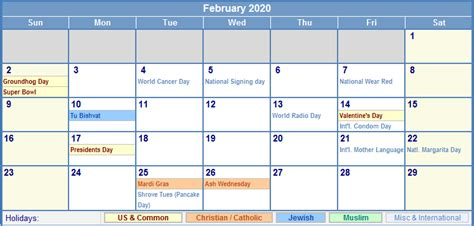 february calendar holidays picture