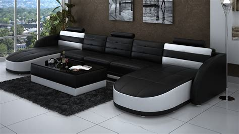table plus chaise leather chaise sectional in black and white plus