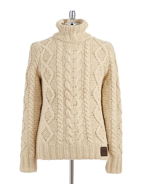 turtleneck knit sweater superdry turtleneck cable knit sweater in beige for lyst