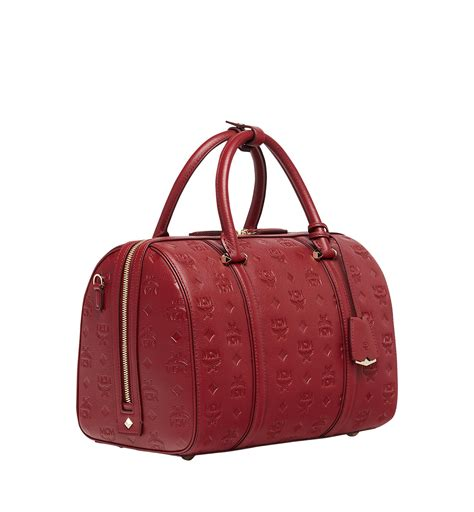 mcm essential boston bag  monogram leather  red lyst