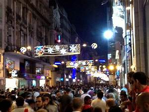 The crowded street of Istiklal by night | Taking Tea in Turkey