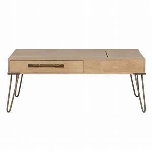 Table Basse Pied Epingle : table basse trappe en manguier massif 2 tiroirs pieds ~ Dailycaller-alerts.com Idées de Décoration