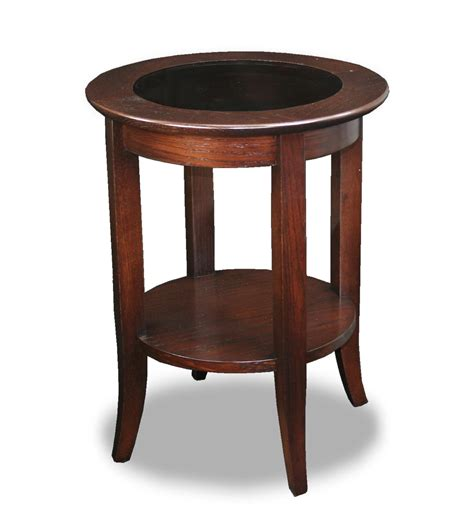 Leick Solid Wood Round Glass Top End Table  Chocolate Oak