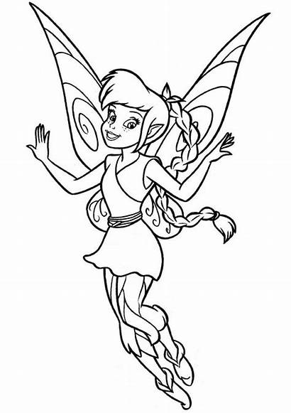 Tinkerbell Coloring Fairy Printable Animal Fawn Related