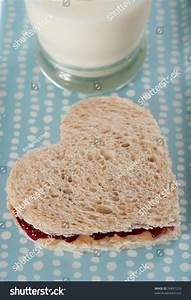 Heart Shaped Peanut Butter And Jelly Sandwich Stock Photo ...