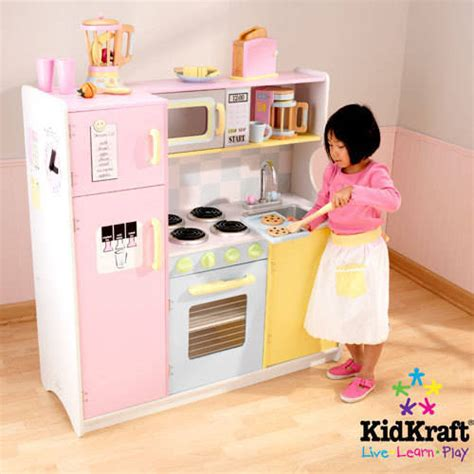pretend kitchen accessories kidkraft large pastel wooden play kitchen with 3 1645