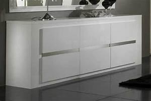 bahut 3 portes tania laque blanc blanc metal With porte d entrée alu avec meuble salle de bain noir laqué pas cher