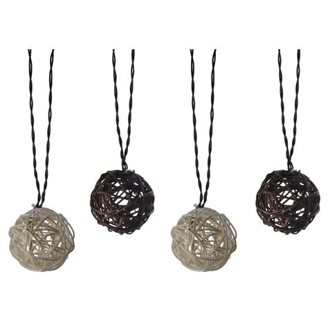 hton bay rattan ball string lights moonrays solar powered led brown and cream outdoor rattan