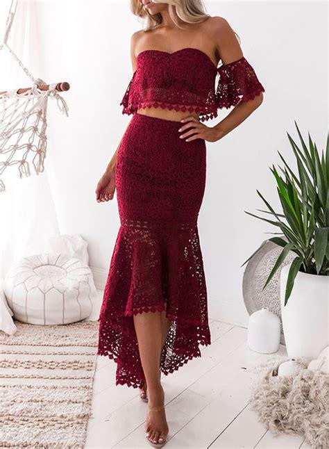 Women Lace Crop Top Piece Mermaid Skirt Set Roawe