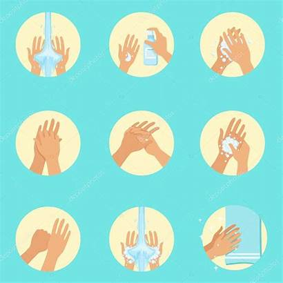 Washing Sequence Hands Infographic Poster Instruction Illustration