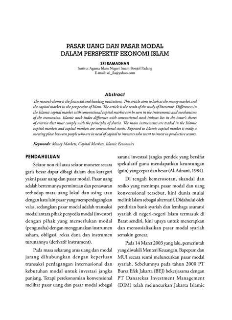 PASAR UANG DAN PASAR MODAL DALAM PERSPEKTIF EKONOMI ISLAM