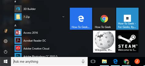 how to add website links to the windows 10 start menu