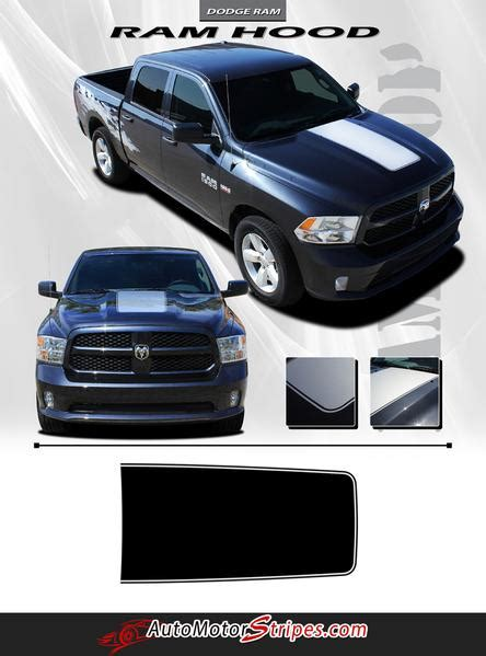 dodge ram truck hood blackout solid center