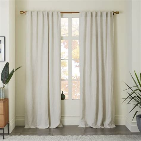 Belgian Flax Linen Curtain  Natural  West Elm