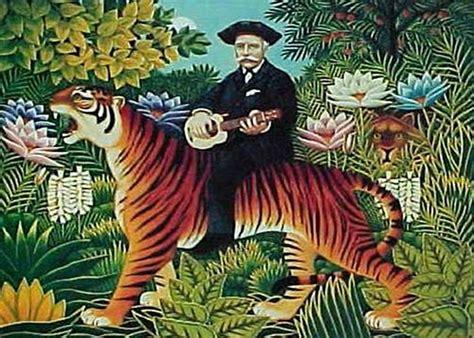 Tiger Riding Ukulele Man by Henri Rousseau mono deluxe