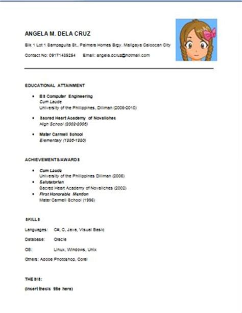 Easy Simple Resume Template by Resume Writing For Fresh Grads Breakable