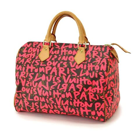 authentic louis vuitton monogram graffiti speedy  hand bag  ebay