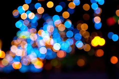 christmas shiny city bokeh  yellow stock photo