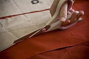 Cutting, Fabric, With, Scissors