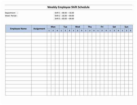 Work Schedule Template Free Monthly Work Schedule Template Weekly Employee 8