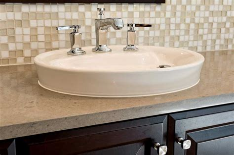 Beautiful Bathroom Sink Backsplash With White And Beige