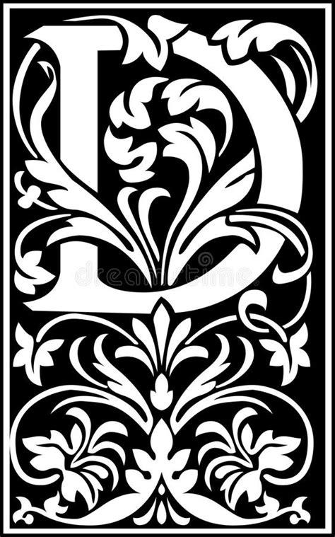decorative letter b flowers decorative letter d balck and white stock vector 15692