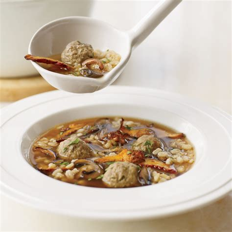 Enjoy an extensive menu of authentic antipasti and italian specialties served á la carte and paired with fine italian wines — complimentary of course. Mushroom Barley Soup with Mini Meatballs Recipe - Grace Parisi | Food & Wine