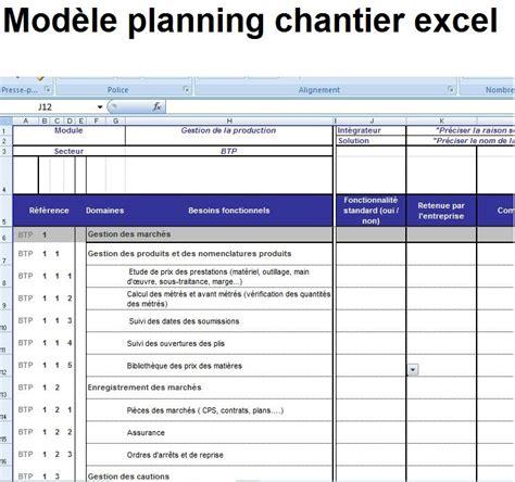 modèle planning excel gratuit mod 232 le planning et planification chantier excel 233 ditable