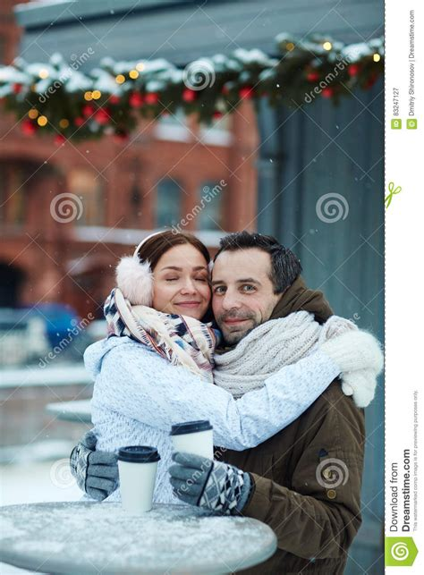Affectionate Sweethearts Stock Image Image Of Snow