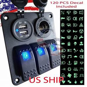 3 Gang Waterproof Usb Toggle Automotive Switch Panel Led