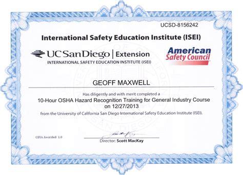 osha 10 certificate template osha 10 hour certification choice image editable certificate template