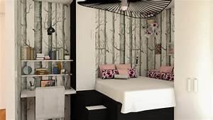 Chambre Fille Petit Espace : chambre d ado dans petit espace ~ Premium-room.com Idées de Décoration