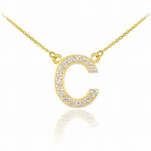 14k yellow gold letter quotcquot initial 17 diamonds pendant With diamond letter pendant necklace