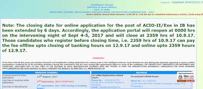 Intelligence Bureau Acio Recruitment 2017  Last Date Extended